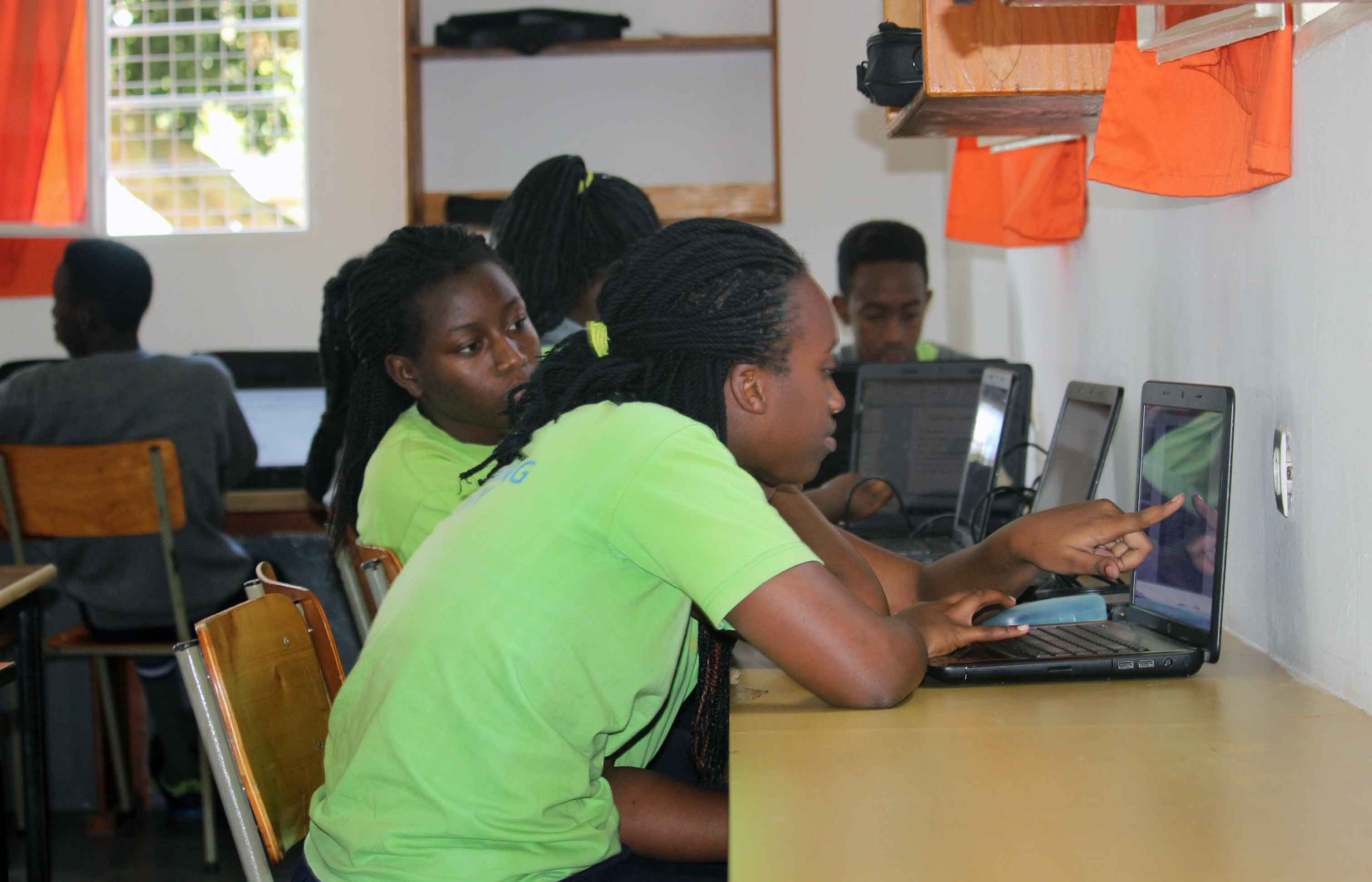 Students using the computer